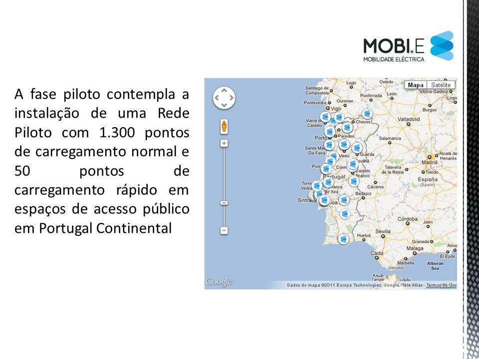 A fase piloto contempla a instalação de uma Rede Piloto com 1.300 pontos de carregamento normal e 50 pontos de carregamento rápido em espaços de acess