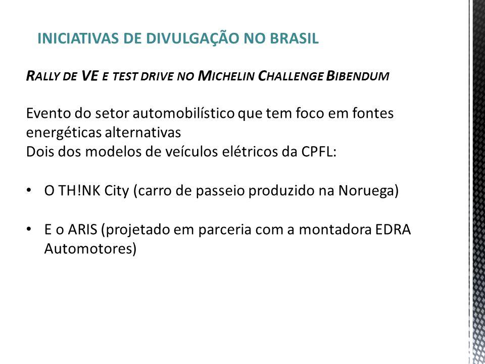 INICIATIVAS DE DIVULGAÇÃO NO BRASIL R ALLY DE VE E TEST DRIVE NO M ICHELIN C HALLENGE B IBENDUM Evento do setor automobilístico que tem foco em fontes