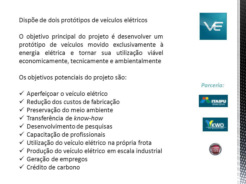 Dispõe de dois protótipos de veículos elétricos O objetivo principal do projeto é desenvolver um protótipo de veículos movido exclusivamente à energia