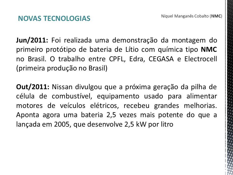 NOVAS TECNOLOGIAS Jun/2011: Foi realizada uma demonstração da montagem do primeiro protótipo de bateria de Lítio com química tipo NMC no Brasil. O tra