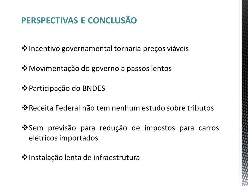 PERSPECTIVAS E CONCLUSÃO  Incentivo governamental tornaria preços viáveis  Movimentação do governo a passos lentos  Participação do BNDES  Receita