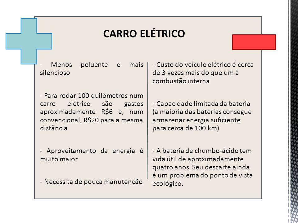 - Menos poluente e mais silencioso - Para rodar 100 quilômetros num carro elétrico são gastos aproximadamente R$6 e, num convencional, R$20 para a mes