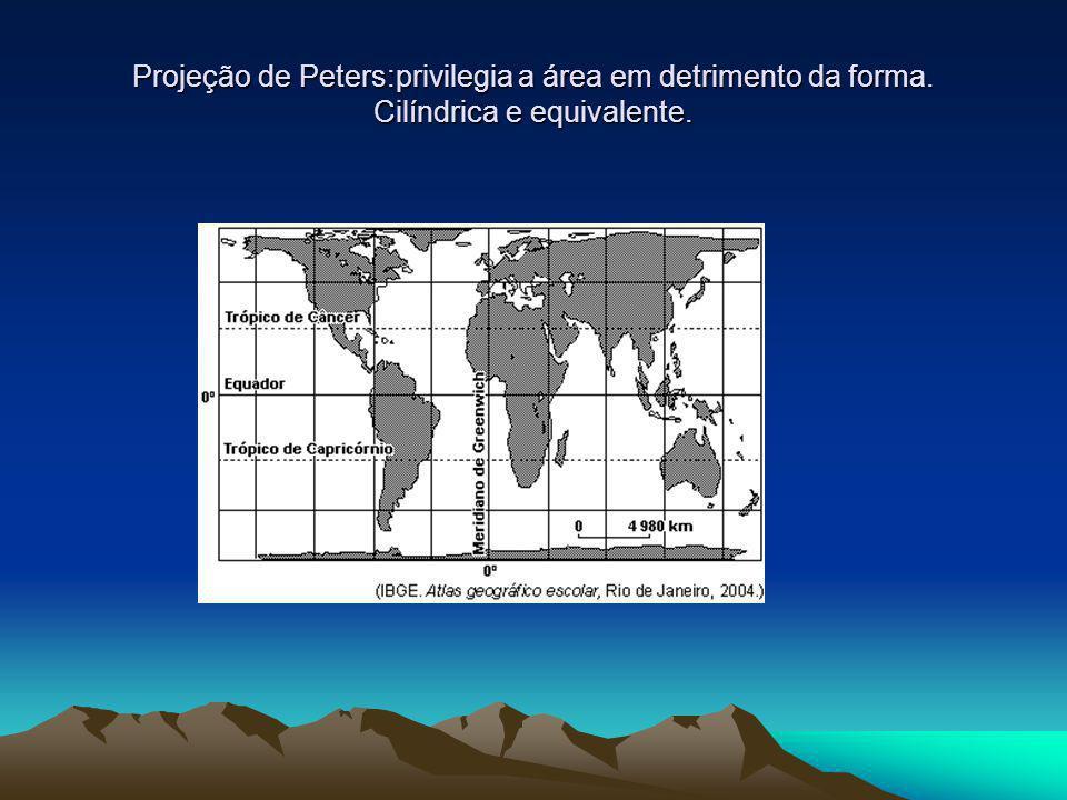 Projeção de Peters:privilegia a área em detrimento da forma. Cilíndrica e equivalente.