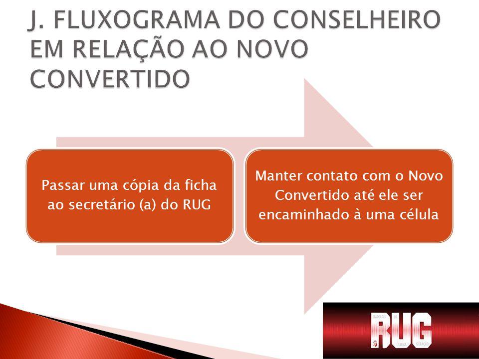 Passar uma cópia da ficha ao secretário (a) do RUG Manter contato com o Novo Convertido até ele ser encaminhado à uma célula