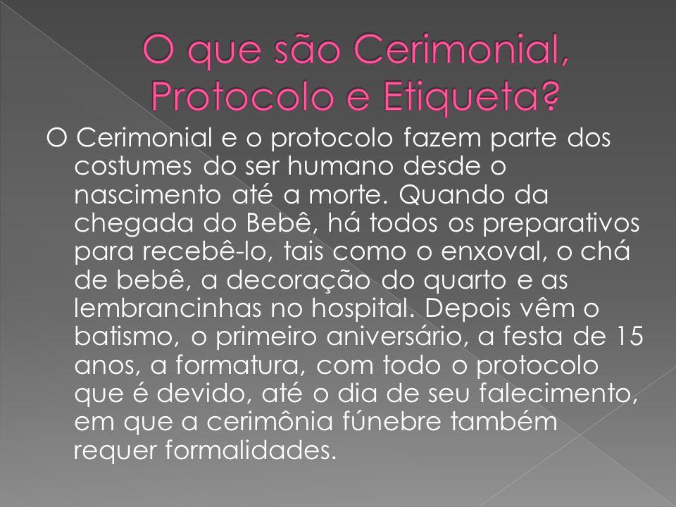 O Cerimonial e o protocolo fazem parte dos costumes do ser humano desde o nascimento até a morte. Quando da chegada do Bebê, há todos os preparativos