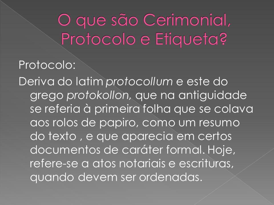 Protocolo: Deriva do latim protocollum e este do grego protokollon, que na antiguidade se referia à primeira folha que se colava aos rolos de papiro, como um resumo do texto, e que aparecia em certos documentos de caráter formal.
