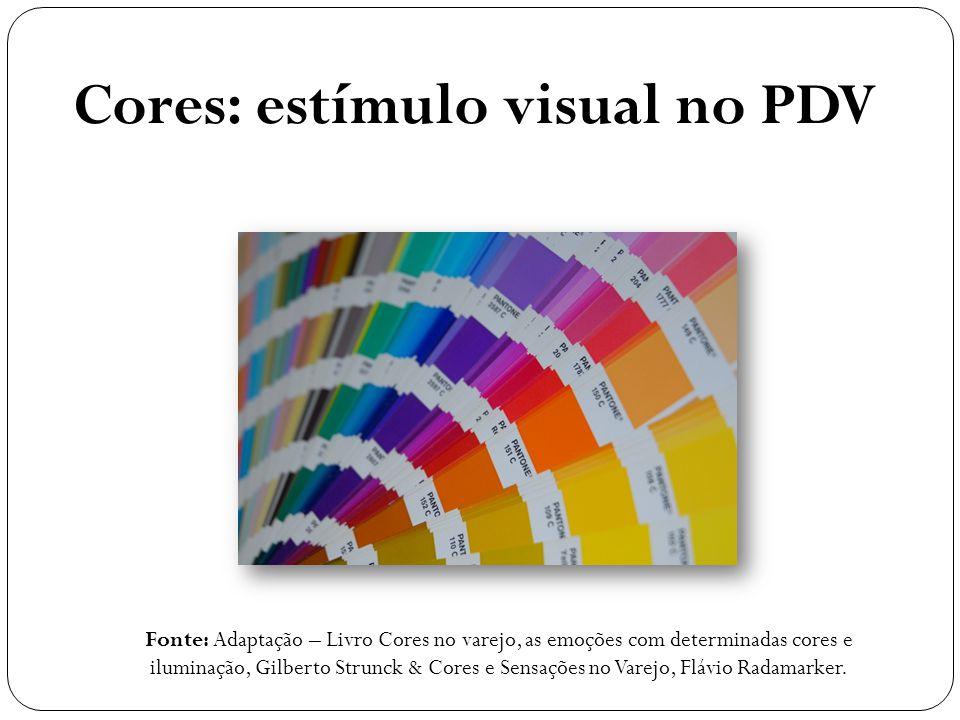 Cores: estímulo visual no PDV Fonte: Adaptação – Livro Cores no varejo, as emoções com determinadas cores e iluminação, Gilberto Strunck & Cores e Sensações no Varejo, Flávio Radamarker.