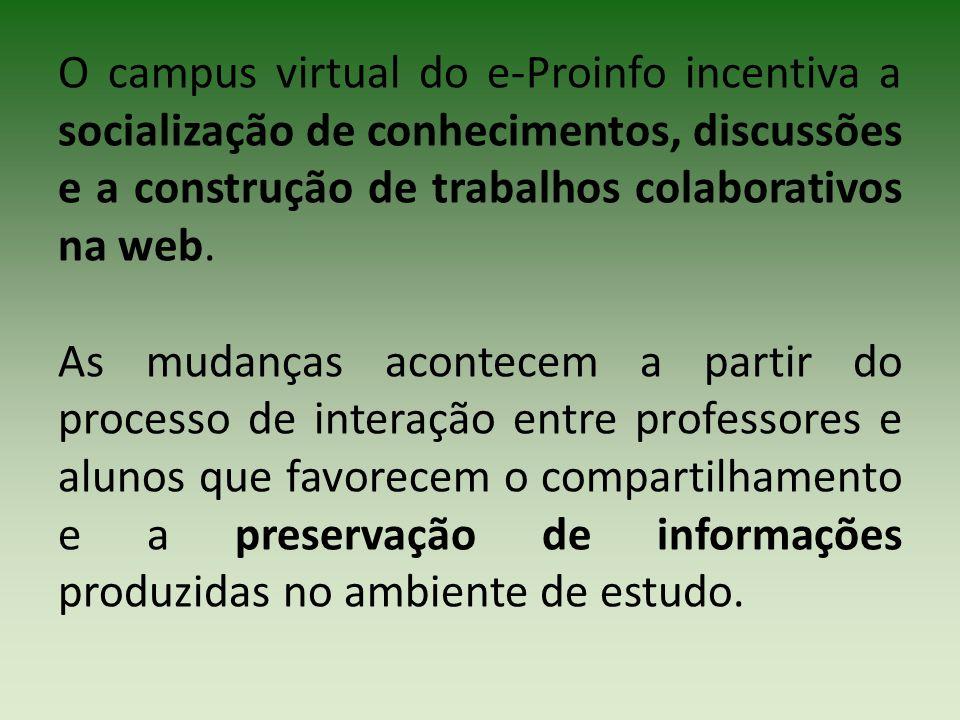 O campus virtual do e-Proinfo incentiva a socialização de conhecimentos, discussões e a construção de trabalhos colaborativos na web.