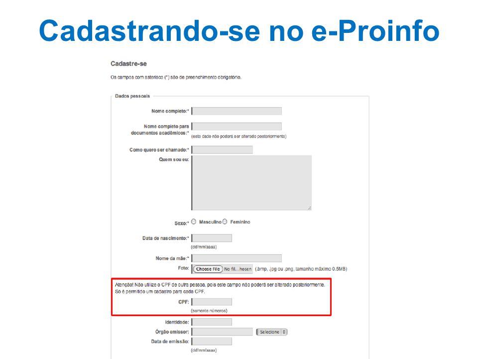 Cadastrando-se no e-Proinfo