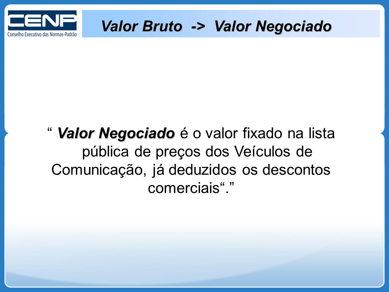 Valor Bruto -> Valor Negociado Valor Negociado Valor Negociado é o valor fixado na lista pública de preços dos Veículos de Comunicação, já deduzidos os descontos comerciais .