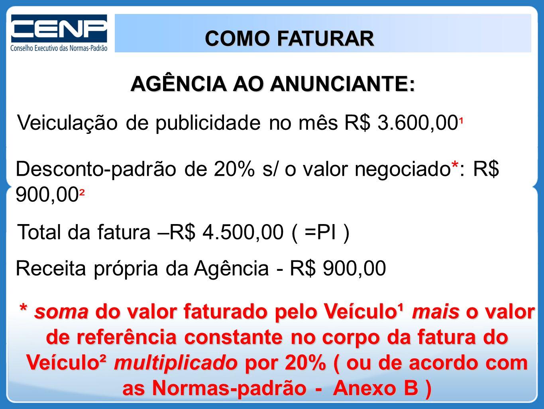 AGÊNCIA AO ANUNCIANTE: Veiculação de publicidade no mês R$ 3.600,00 ¹ Desconto-padrão de 20% s/ o valor negociado*: R$ 900,00 ² Total da fatura –R$ 4.