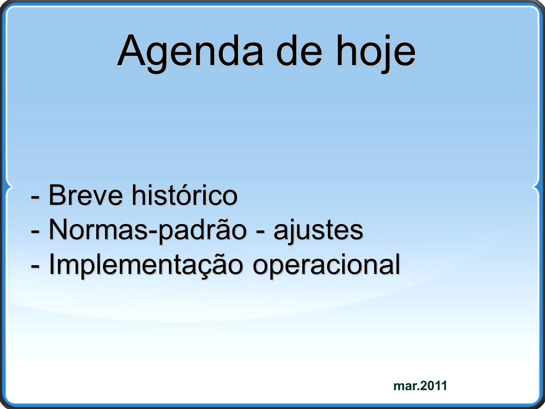mar.2011 Agenda de hoje - Breve histórico - Normas-padrão - ajustes - Implementação operacional