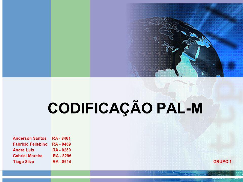 CODIFICAÇÃO PAL-M Anderson Santos RA - 8461 Fabrício Felisbino RA - 8469 Andre Luis RA - 8259 Gabriel Moreira RA - 8296 Tiago Silva RA - 8614 GRUPO 1