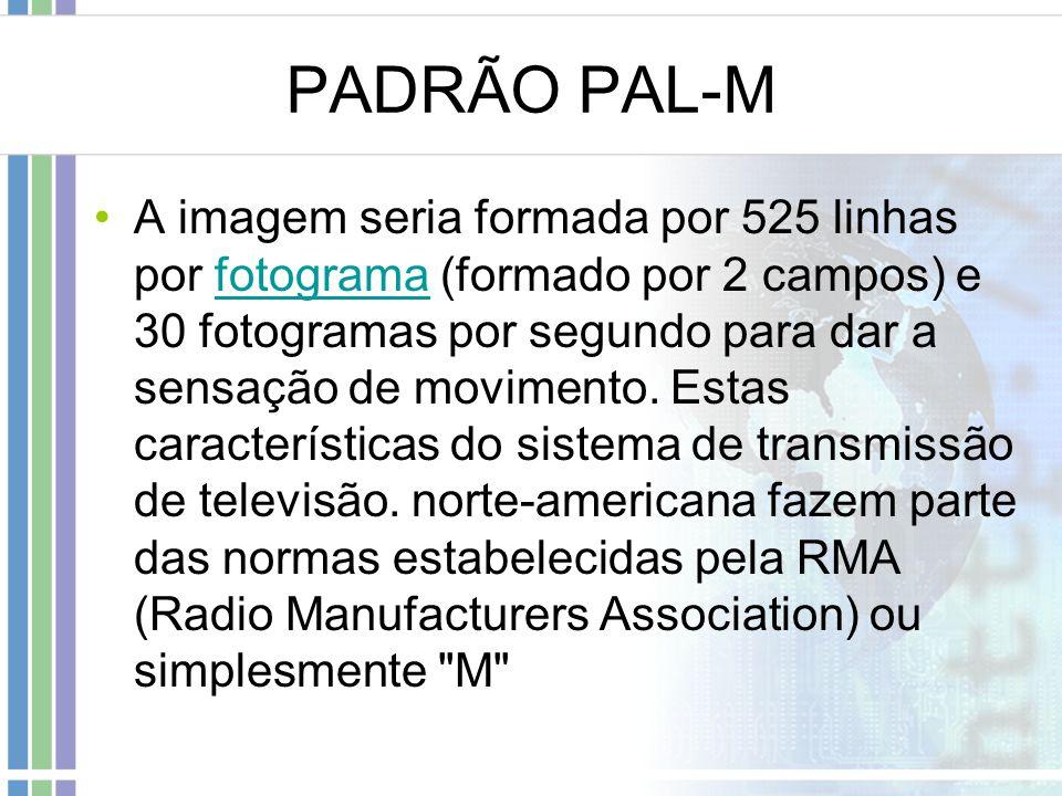PADRÃO PAL-M A imagem seria formada por 525 linhas por fotograma (formado por 2 campos) e 30 fotogramas por segundo para dar a sensação de movimento.