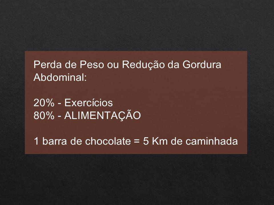 Perda de Peso ou Redução da Gordura Abdominal: 20% - Exercícios 80% - ALIMENTAÇÃO 1 barra de chocolate = 5 Km de caminhada
