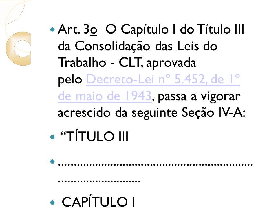 Art. 3o O Capítulo I do Título III da Consolidação das Leis do Trabalho - CLT, aprovada pelo Decreto-Lei nº 5.452, de 1º de maio de 1943, passa a vigo