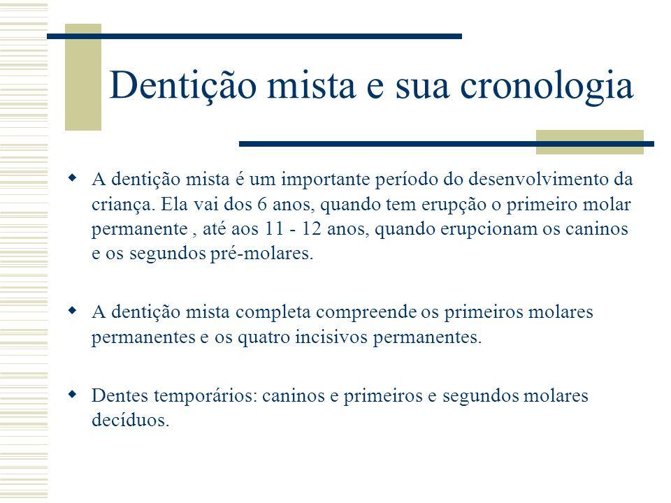 Dentição mista e sua cronologia  A dentição mista é um importante período do desenvolvimento da criança. Ela vai dos 6 anos, quando tem erupção o pri