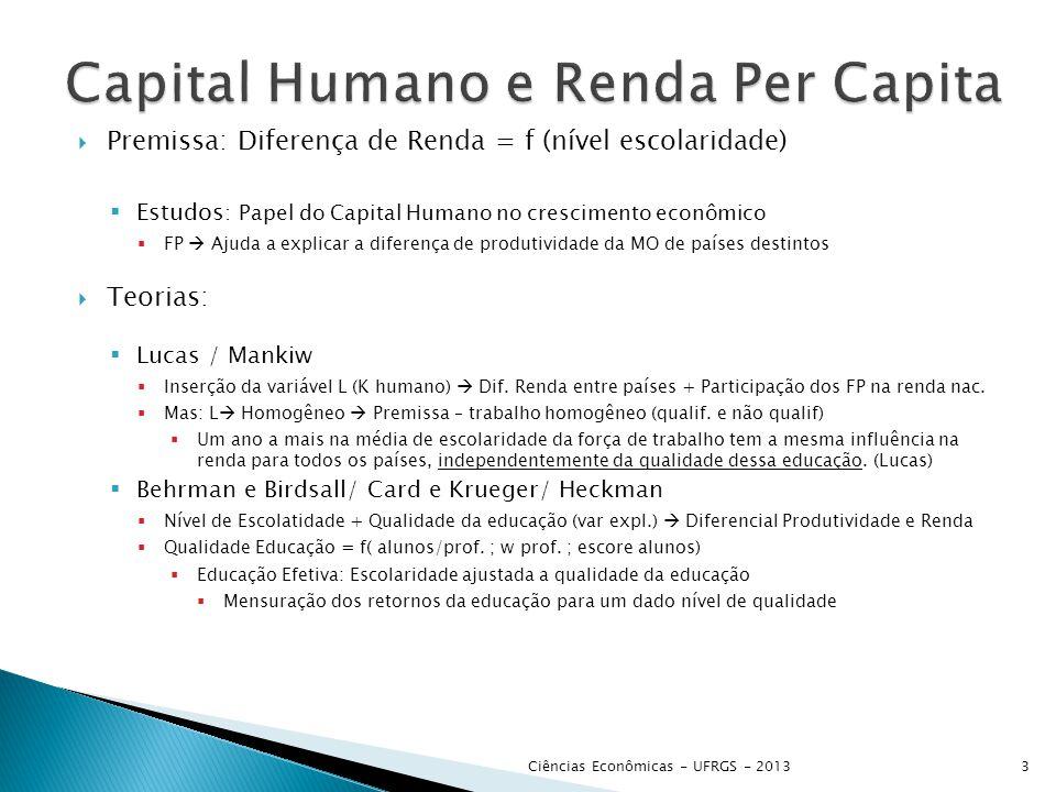  Premissa: Diferença de Renda = f (nível escolaridade)  Estudos : Papel do Capital Humano no crescimento econômico  FP  Ajuda a explicar a diferen