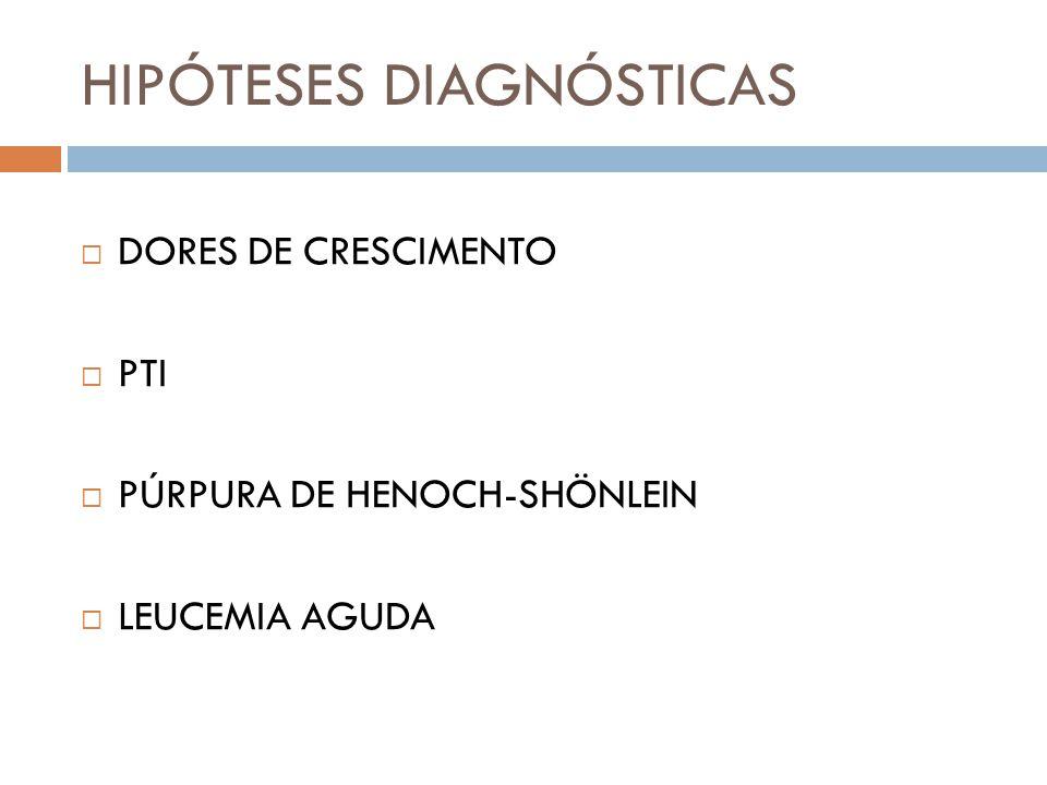  DORES DE CRESCIMENTO  PTI  PÚRPURA DE HENOCH-SHÖNLEIN  LEUCEMIA AGUDA