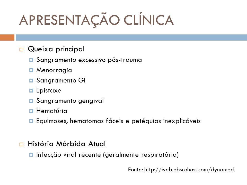 APRESENTAÇÃO CLÍNICA  Queixa principal  Sangramento excessivo pós-trauma  Menorragia  Sangramento GI  Epistaxe  Sangramento gengival  Hematúria