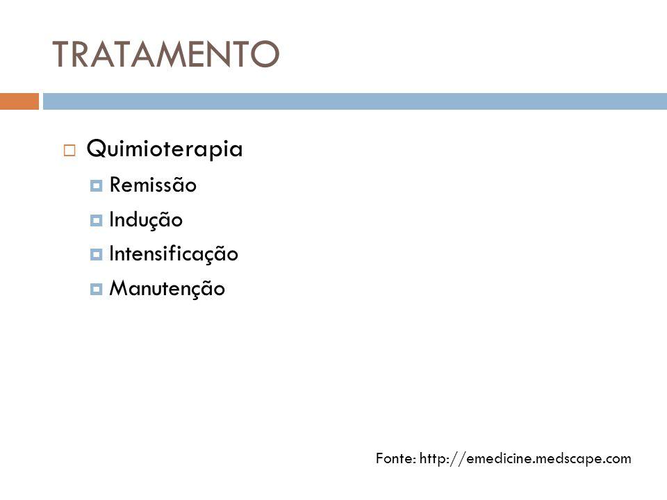 TRATAMENTO  Quimioterapia  Remissão  Indução  Intensificação  Manutenção Fonte: http://emedicine.medscape.com