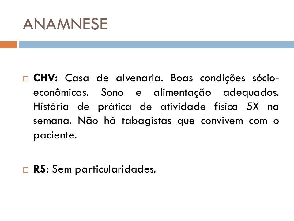 ANAMNESE  CHV: Casa de alvenaria.Boas condições sócio- econômicas.