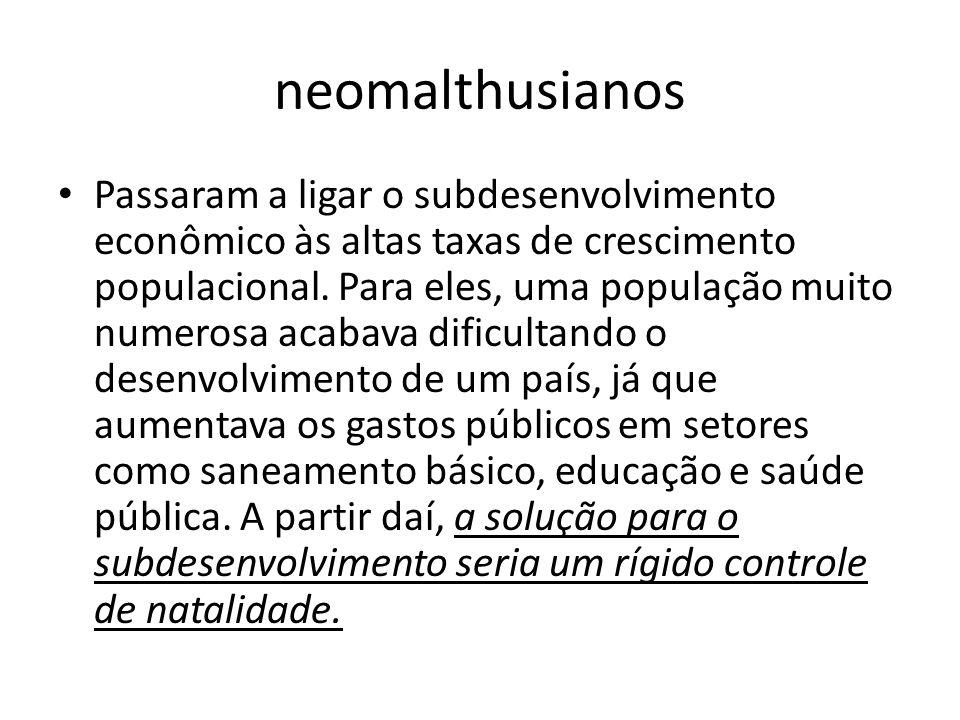 Reformistas -O crescimento populacional não é causa do subdesenvolvimento econômico, mas sim uma de suas consequências.