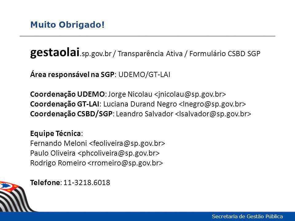 Muito Obrigado! Secretaria de Gestão Pública gestaolai.sp.gov.br / Transparência Ativa / Formulário CSBD SGP Área responsável na SGP: UDEMO/GT-LAI Coo