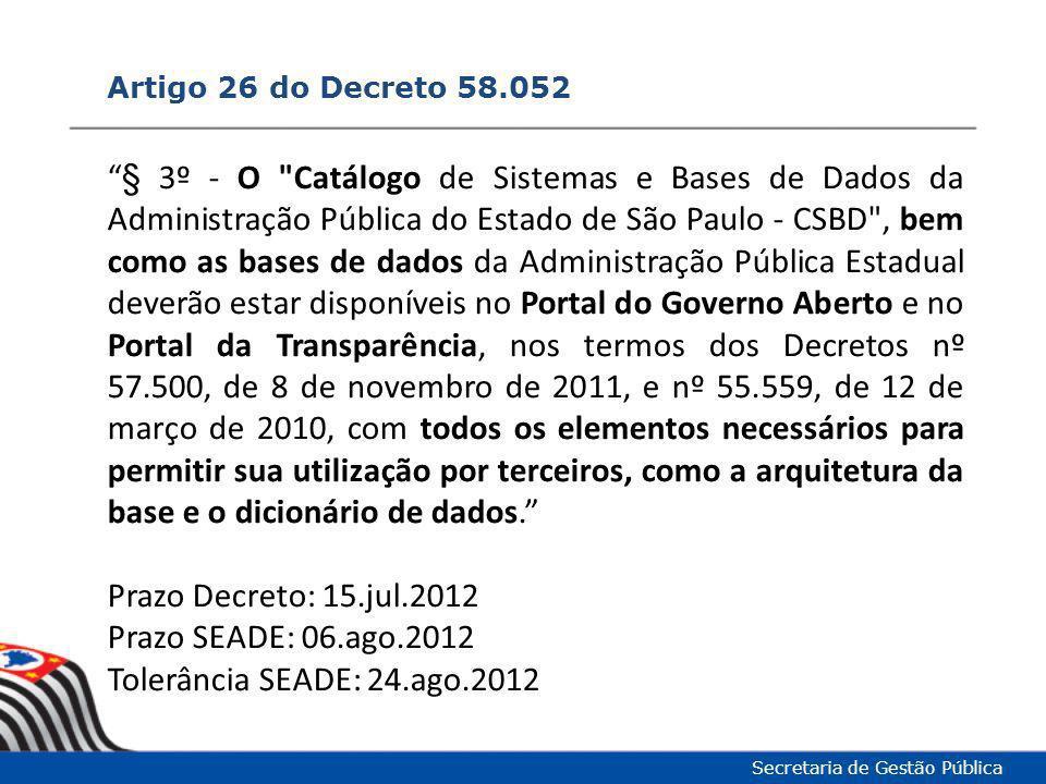 """Artigo 26 do Decreto 58.052 Secretaria de Gestão Pública """"§ 3º - O"""