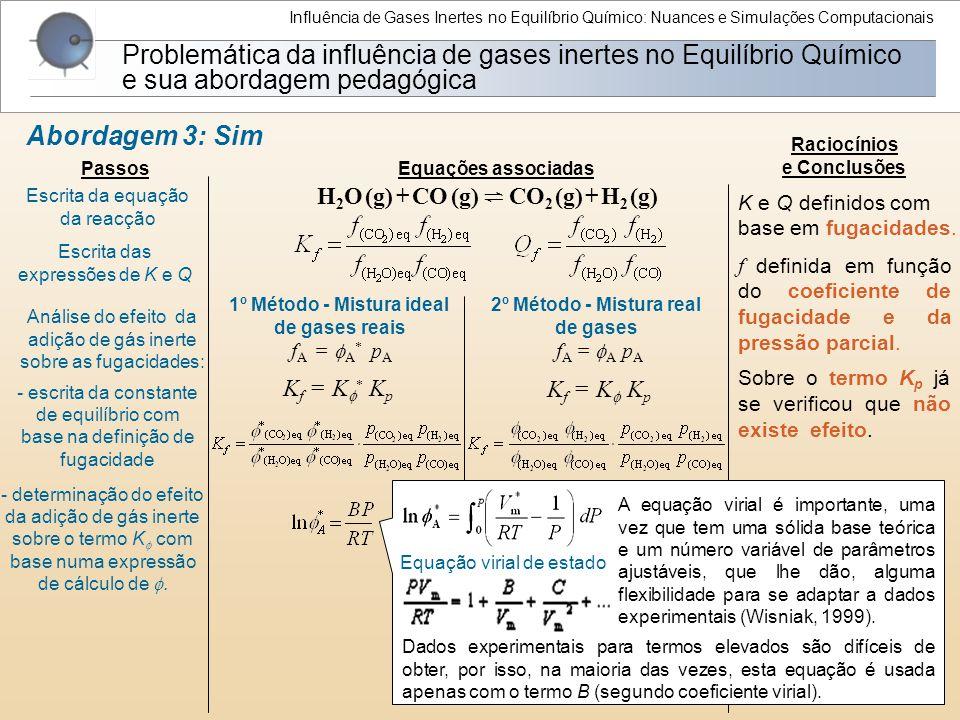 Influência de Gases Inertes no Equilíbrio Químico: Nuances e Simulações Computacionais Problemática da influência de gases inertes no Equilíbrio Quími