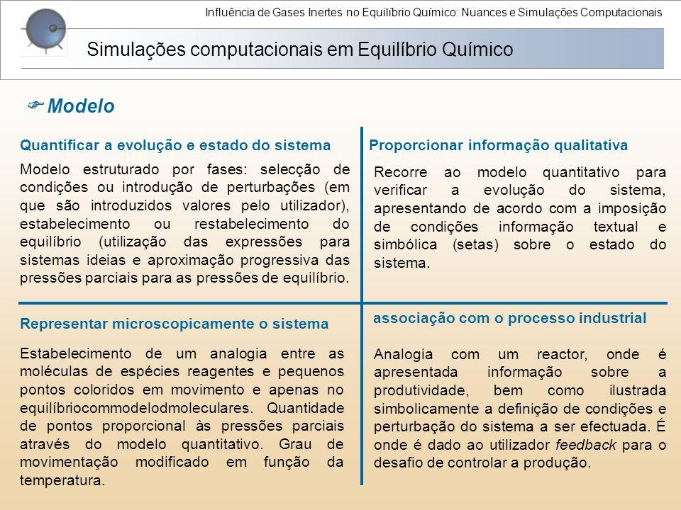 Influência de Gases Inertes no Equilíbrio Químico: Nuances e Simulações Computacionais Quantificar a evolução e estado do sistema Simulações computaci