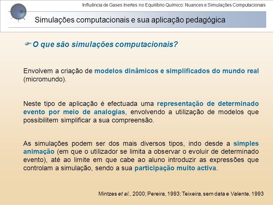 Influência de Gases Inertes no Equilíbrio Químico: Nuances e Simulações Computacionais Simulações computacionais e sua aplicação pedagógica Envolvem a