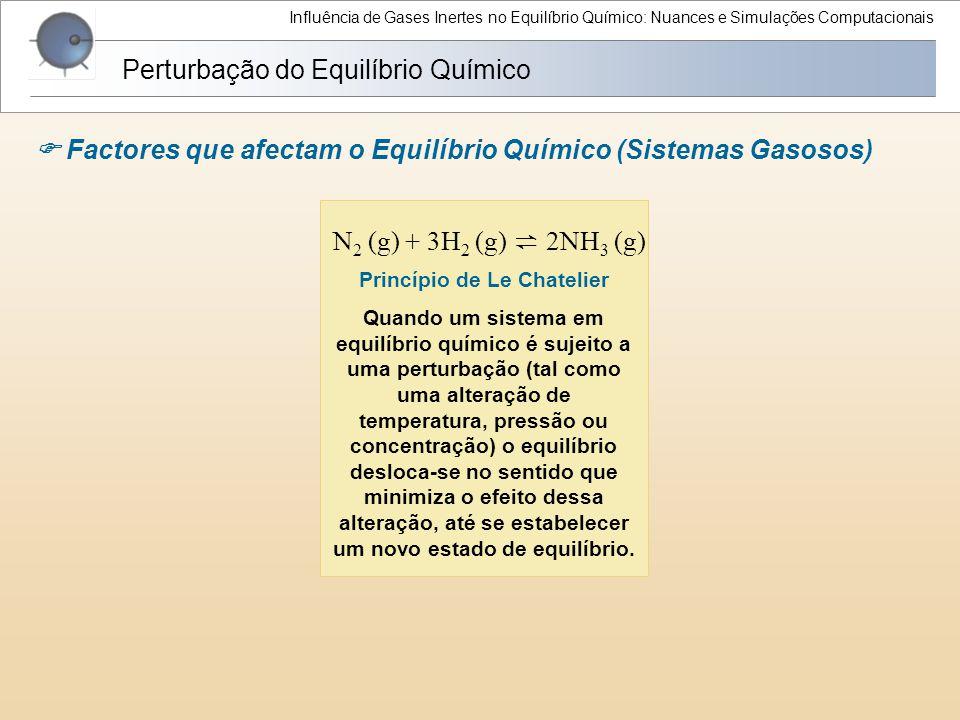 N 2 (g) + 3H 2 (g) ⇌ 2NH 3 (g) Influência de Gases Inertes no Equilíbrio Químico: Nuances e Simulações Computacionais Perturbação do Equilíbrio Químic