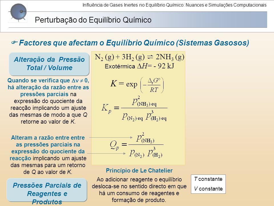 Influência de Gases Inertes no Equilíbrio Químico: Nuances e Simulações Computacionais Perturbação do Equilíbrio Químico  Factores que afectam o Equi