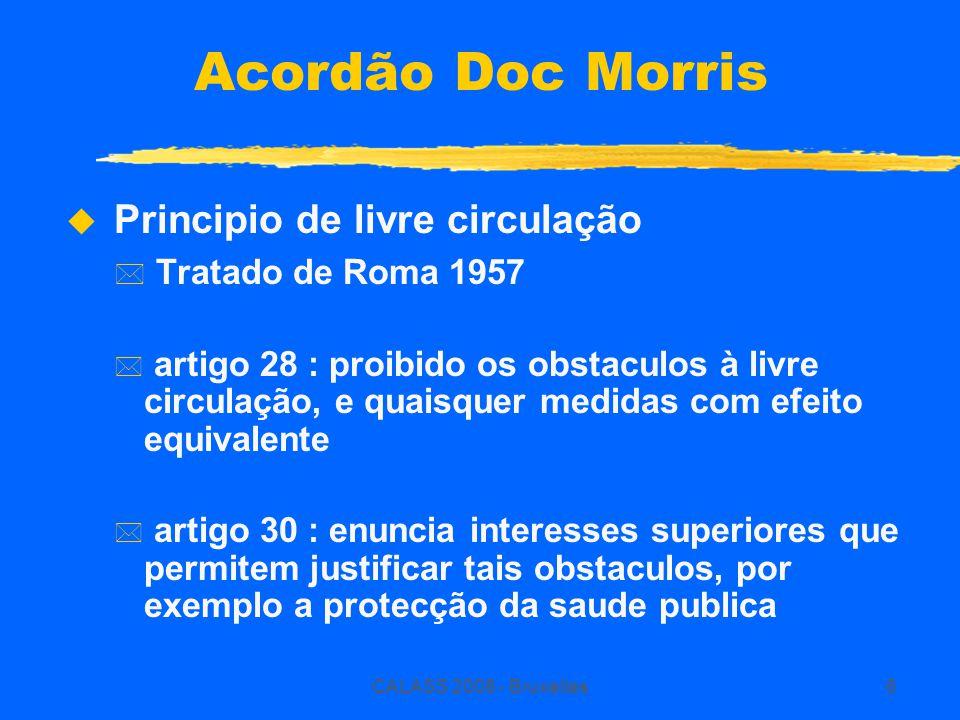 CALASS 2008 - Bruxelles6 Acordão Doc Morris  Principio de livre circulação * Tratado de Roma 1957 * artigo 28 : proibido os obstaculos à livre circul