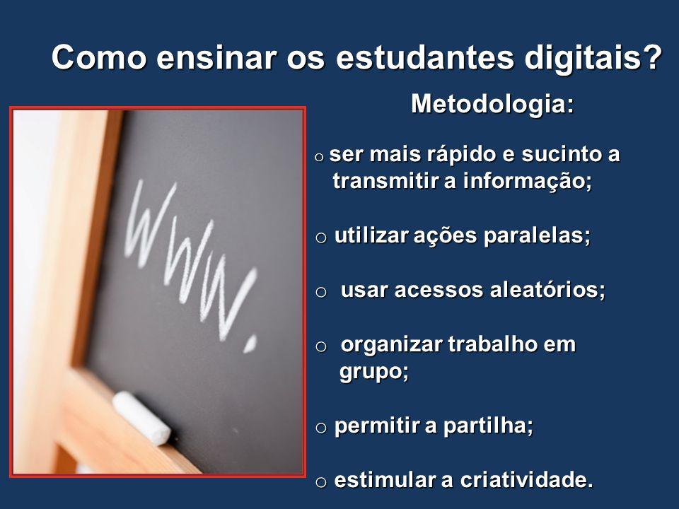 Como ensinar os estudantes digitais? Metodologia: o ser mais rápido e sucinto a transmitir a informação; transmitir a informação; o utilizar ações par