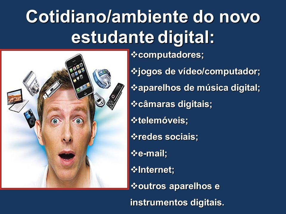 Cotidiano/ambiente do novo estudante digital:  computadores;  jogos de vídeo/computador;  aparelhos de música digital;  câmaras digitais;  telemó