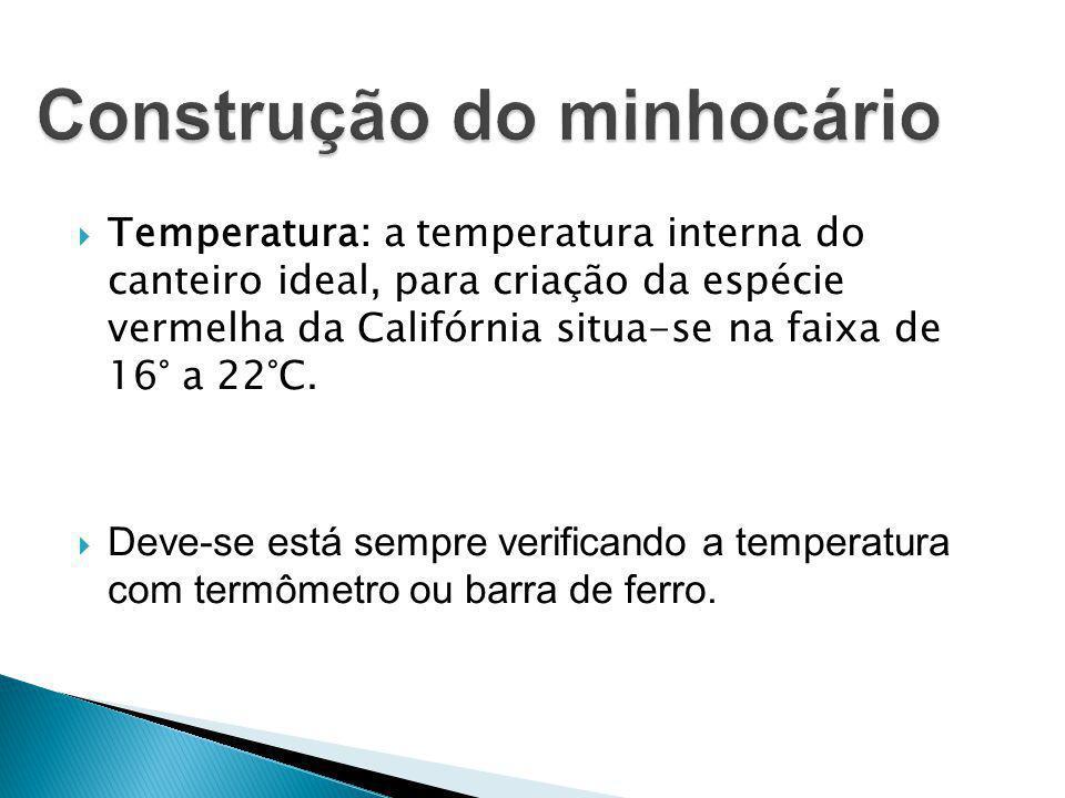  Temperatura: a temperatura interna do canteiro ideal, para criação da espécie vermelha da Califórnia situa-se na faixa de 16° a 22°C.  Deve-se está