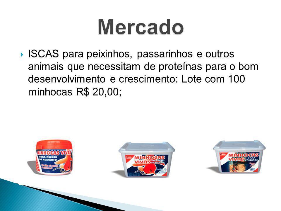  ISCAS para peixinhos, passarinhos e outros animais que necessitam de proteínas para o bom desenvolvimento e crescimento: Lote com 100 minhocas R$ 20
