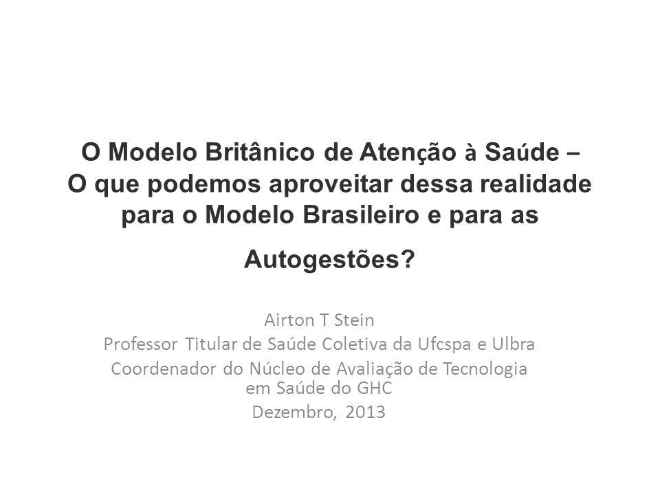 O Modelo Britânico de Aten ç ão à Sa ú de – O que podemos aproveitar dessa realidade para o Modelo Brasileiro e para as Autogestões? Airton T Stein Pr