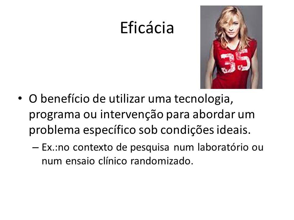Eficácia O benefício de utilizar uma tecnologia, programa ou intervenção para abordar um problema específico sob condições ideais.