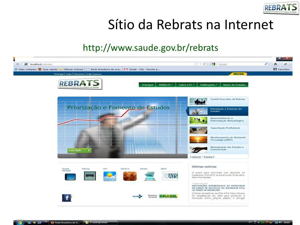 Sítio da Rebrats na Internet http://www.saude.gov.br/rebrats