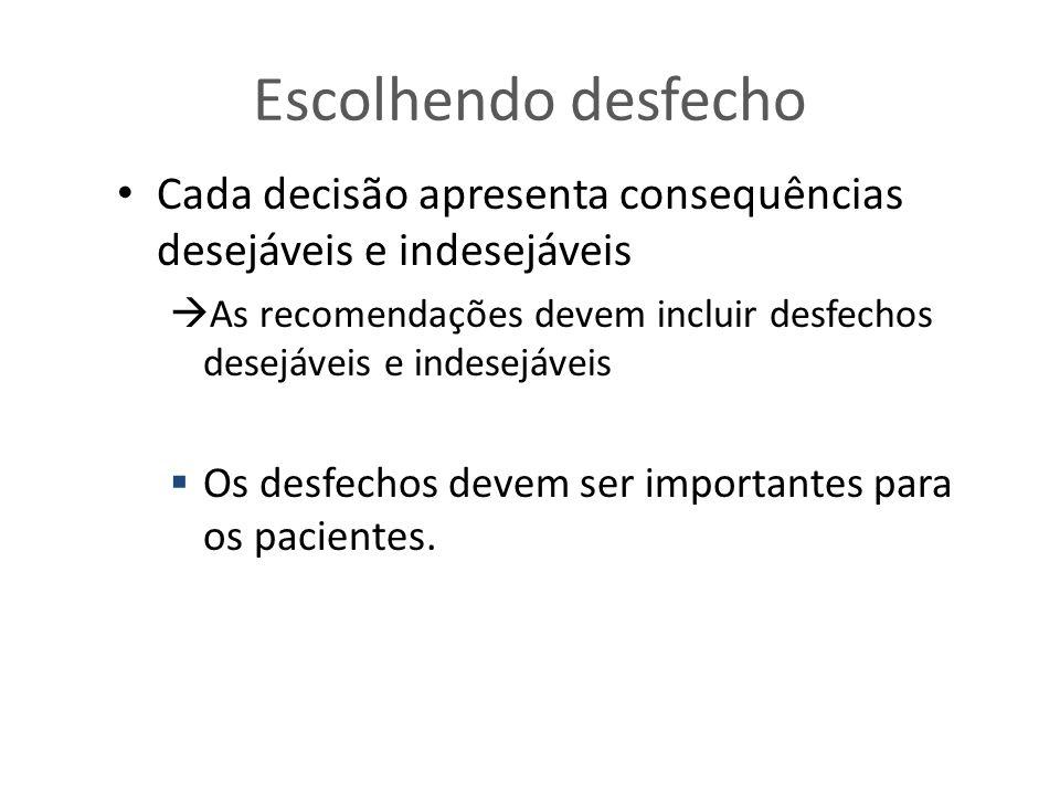 Escolhendo desfecho Cada decisão apresenta consequências desejáveis e indesejáveis  As recomendações devem incluir desfechos desejáveis e indesejáveis  Os desfechos devem ser importantes para os pacientes.
