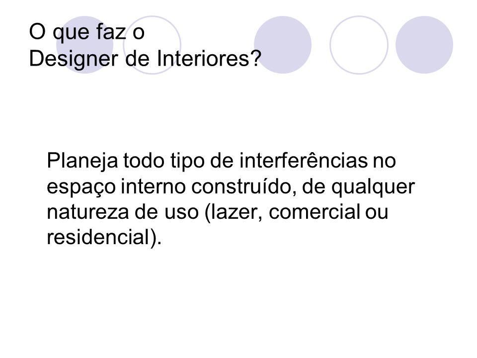 O que faz o Designer de Interiores? Planeja todo tipo de interferências no espaço interno construído, de qualquer natureza de uso (lazer, comercial ou