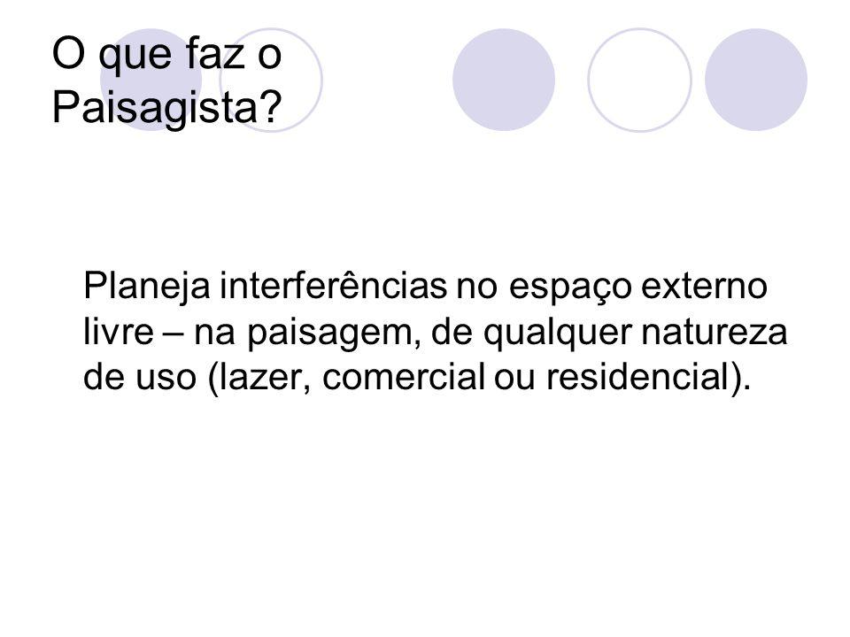Planeja interferências no espaço externo livre – na paisagem, de qualquer natureza de uso (lazer, comercial ou residencial). O que faz o Paisagista?