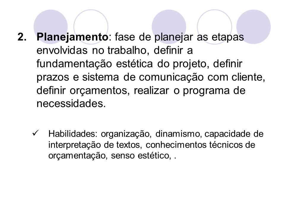 2.Planejamento: fase de planejar as etapas envolvidas no trabalho, definir a fundamentação estética do projeto, definir prazos e sistema de comunicaçã
