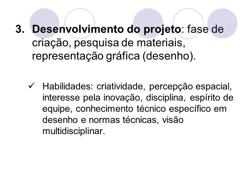 3.Desenvolvimento do projeto: fase de criação, pesquisa de materiais, representação gráfica (desenho). Habilidades: criatividade, percepção espacial,