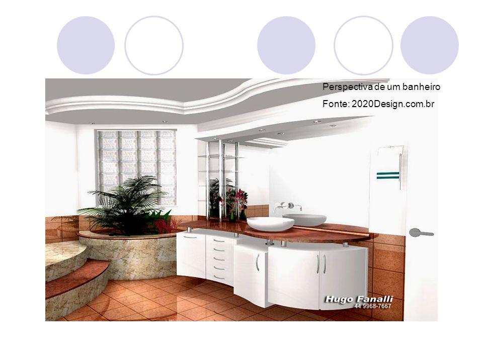 Perspectiva de um banheiro Fonte: 2020Design.com.br