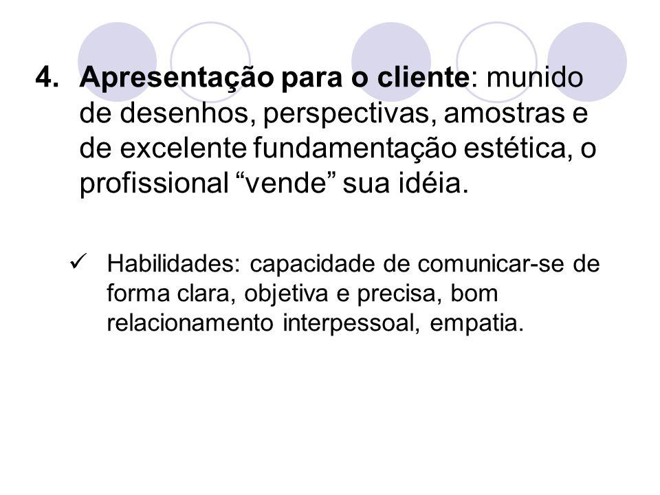 """4.Apresentação para o cliente: munido de desenhos, perspectivas, amostras e de excelente fundamentação estética, o profissional """"vende"""" sua idéia. Hab"""