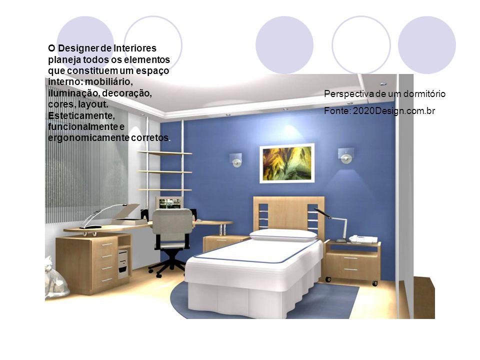 Perspectiva de um dormitório Fonte: 2020Design.com.br O Designer de Interiores planeja todos os elementos que constituem um espaço interno: mobiliário